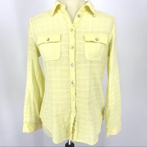 Anthropologie Fei Yellow Button Up Top Plaid
